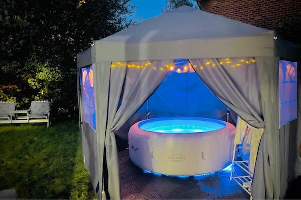 Hot Tub in the evening with Horsham Hot Tub Hire